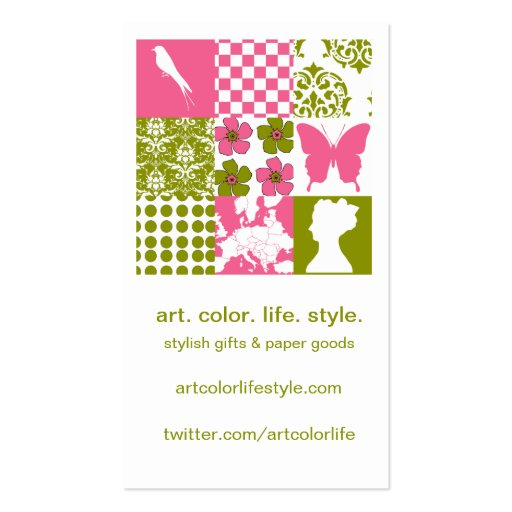 Pink & Green Patchwork Double-Sided Standard Business Cards (Pack Of 100)