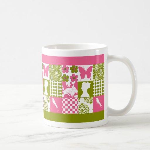 Pink & Green Patchwork Classic White Coffee Mug