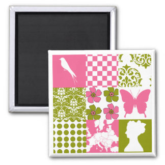Pink & Green Patchwork Magnet