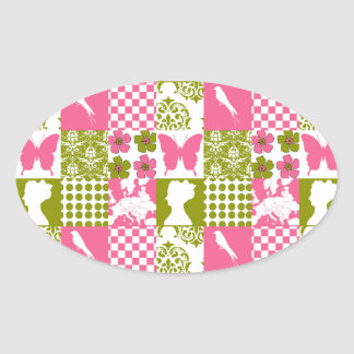 Pink & Green Patchwork Oval Stickers
