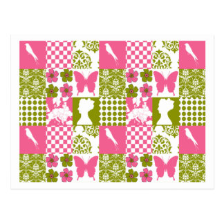Pink & Green Patchwork Postcards