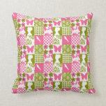 Pink & Green Patchwork Throw Pillows