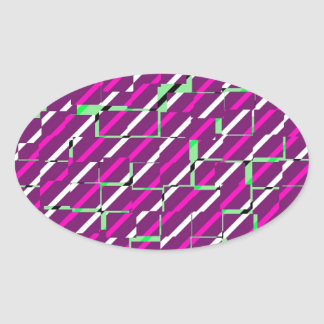 Pink & Green - Pattern Oval Sticker