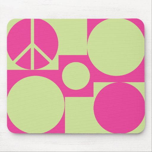 Pink & Green  Peace Dots Mouse Mat