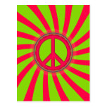 PINK & GREEN PEACE SIGN DESIGN POSTCARD