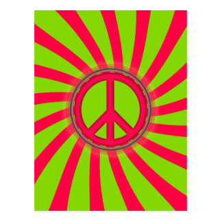 PINK GREEN PEACE SIGN DESIGN POST CARD