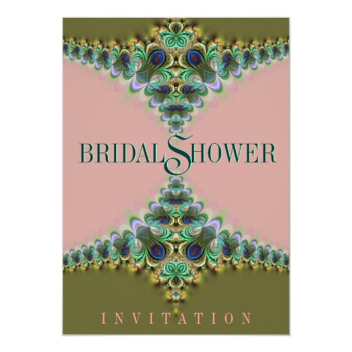 Pink & Green Peacock  Lace Bridal Shower Invites