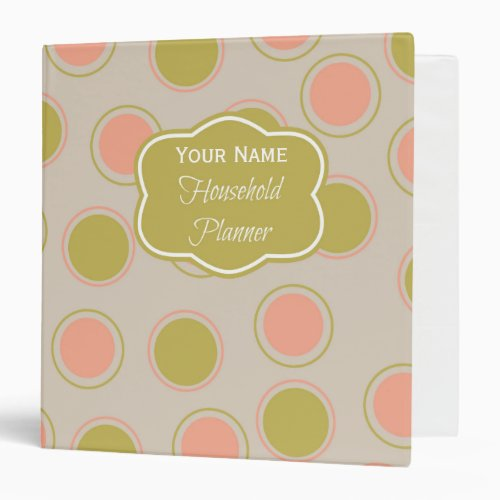 Pink & Green Personalized Home Organization Binder