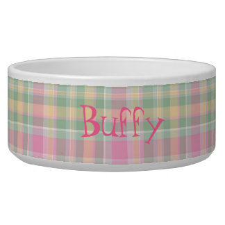 Pink & Green Plaid Custom Dog Bowl