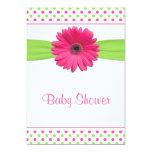 Pink Green Polka Dot Baby Shower Invitation