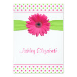 Pink Green Polka Dot Baptism Invitation