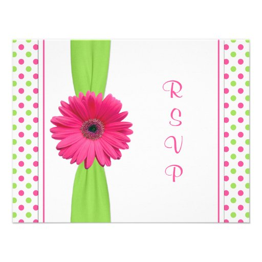 Pink Green Polka Dot Bat Mitzvah Reply Card Custom Invitations