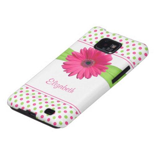 Pink Green Polka Dot Daisy Samsung Galaxy Case Samsung Galaxy SII Case