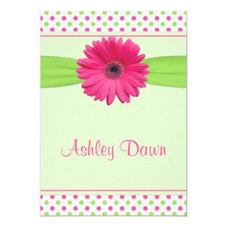 Pink Green Polka Dot Gerber Bat Mitzvah Invitation