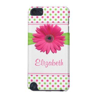 Pink Green Polka Dot Gerber Daisy iPod Touch 5G Case