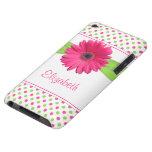 Pink Green Polka Dot Gerber Daisy iPod Touch Case