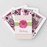 Pink Green Polka Dot Gerber Daisy Personalized Deck Of Cards