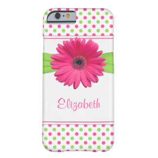 Pink Green Polka Dot Gerbera Daisy Barely There iPhone 6 Case