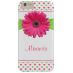 Pink Green Polka Dot Gerbera Daisy Barely There iPhone 6 Plus Case