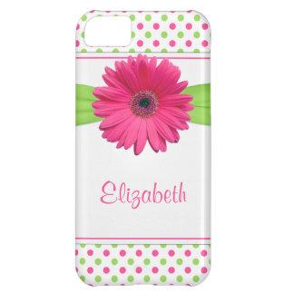 Pink Green Polka Dot Gerbera Daisy Case For iPhone 5C
