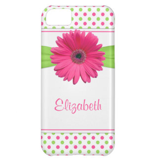 Pink Green Polka Dot Gerbera Daisy Case For iPhone 5C