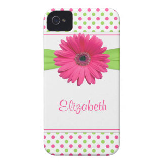 Pink Green Polka Dot Gerbera Daisy iPhone 4 Case