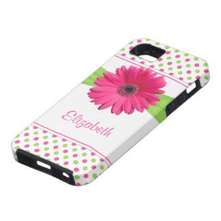 Pink Green Polka Dot Gerbera Daisy iPhone 5 Case