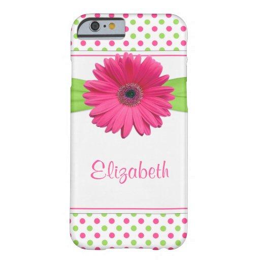 Pink Green Polka Dot Gerbera Daisy iPhone 6 case