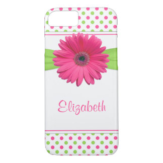 Pink Green Polka Dot Gerbera Daisy iPhone 7 Case