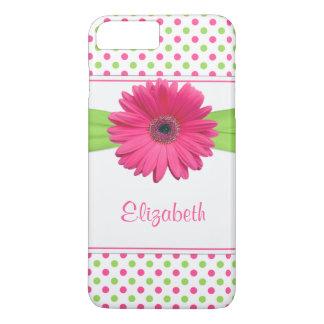Pink Green Polka Dot Gerbera Daisy iPhone 7 Plus Case
