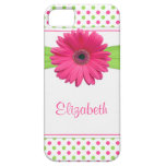Pink Green Polka Dot Gerbera Daisy iPhone iPhone 5 Cover