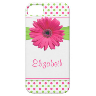 Pink Green Polka Dot Gerbera Daisy iPhone iPhone SE/5/5s Case