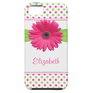 Pink Green Polka Dot Gerbera Daisy iPhone SE/5/5s Case
