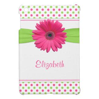 Pink Green Polka Dot Gerbera Daisy Personalized iPad Mini Case
