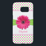 "Pink Green Polka Dot Gerbera Daisy Samsung Galaxy S7 Case<br><div class=""desc"">Change the name on this pink and green polka dots pink gerber daisy personalized case. Add some cute girly style to your device.</div>"