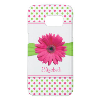 Pink Green Polka Dot Gerbera Daisy Samsung Galaxy S7 Case