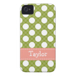 Pink Green Polka Dot iPhone 4 /4s Case Mate Cover iPhone 4 Covers