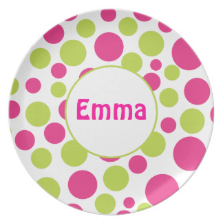 Pink & Green Polka Dot Personalized Plate