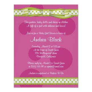 Pink Green Polka Dot Ribbon Baby Shower Invitation