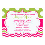 Pink Green Polka Dots Chevron Invitation