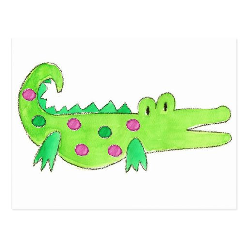 Pink & Green Preppy Alligator Post Card