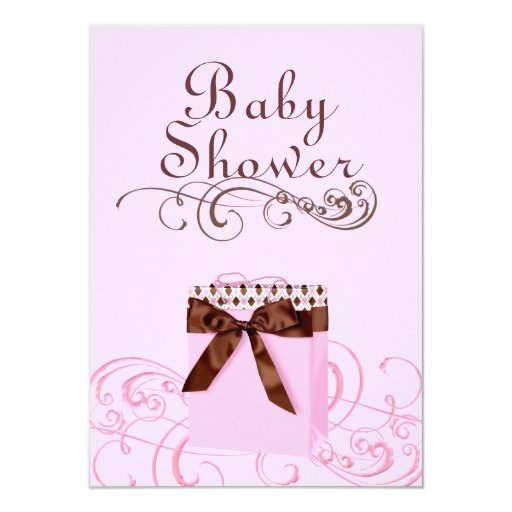 Pink/Green Present & Swirl Baby Shower Invitation