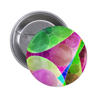 Pink Green Purple Abstract Button