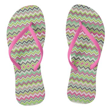 Beach Themed Pink, Green ,Purple and White Chevron Flip Flops