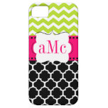 Pink Green Quatrefoil Chevron Personalized iPhone 5 Cover