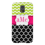 Pink Green Quatrefoil Chevron Personalized Galaxy S5 Covers