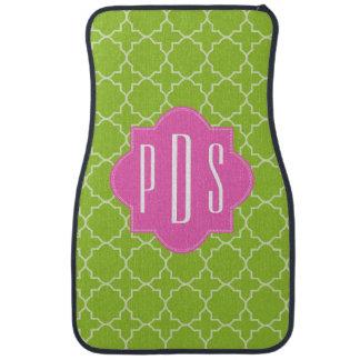Pink + Green Quatrefoil Monogram Car Mat