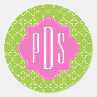 Pink + Green Quatrefoil Monogram Classic Round Sticker