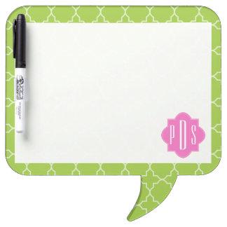 Pink + Green Quatrefoil Monogram Dry Erase Board