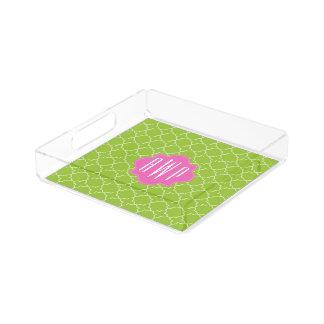 Pink + Green Quatrefoil Monogram Serving Tray